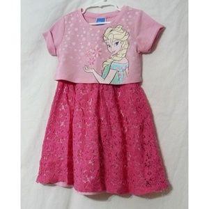DISNEY FROZEN Pink 2-PC Dress Set, SZ XS 4/5